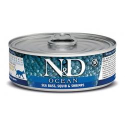 Farmina ND Cat Ocean Lubina y Calamar comida húmeda para gatos 12x80grs