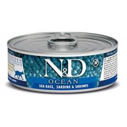 Farmina ND Cat Ocean Lubina y Sardina comida húmeda para gatos 12x80grs