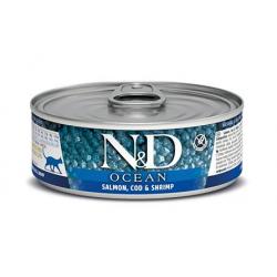 Farmina ND Cat Ocean Salmón y Gambas comida húmeda para gatos 12x80grs