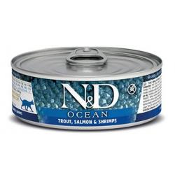 Farmina ND Cat Ocean Trucha y Gambas comida húmeda para gatos 12x80grs
