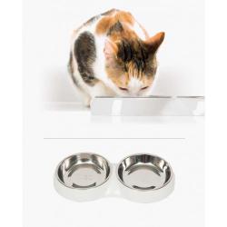 Catit Comedero Doble Acero Inox Blanco para gatos