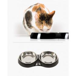 Catit Comedero Doble Acero Inox Negro para gatos