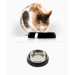 Catit Comedero Individual Acero Inox Negro para gatos