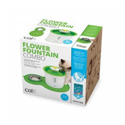 Catit Flower Fountain + Alfombrilla y Comedero para gatos